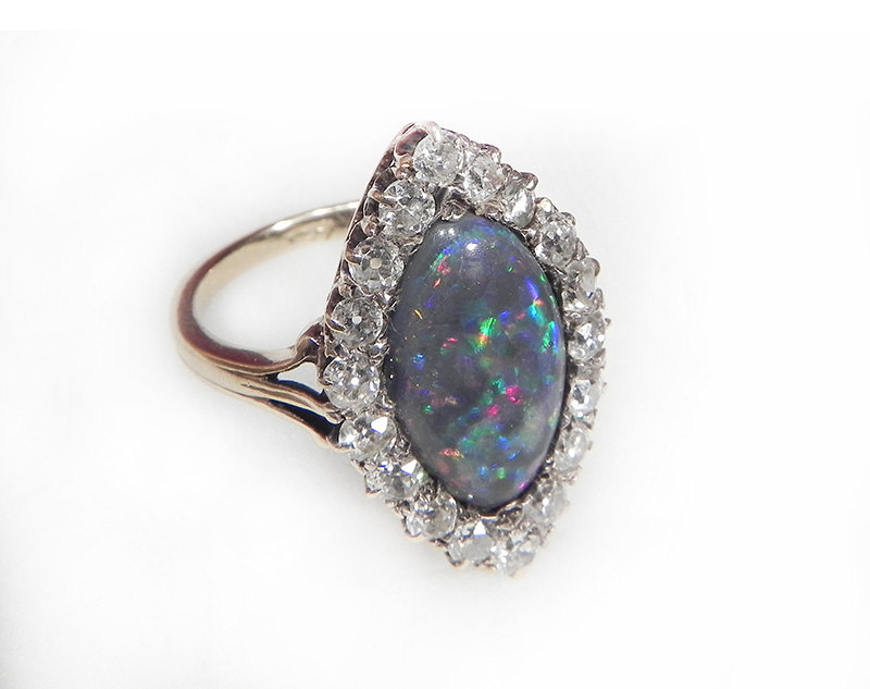 Antique Engagement Ring Opal And Diamond Engagement Ring