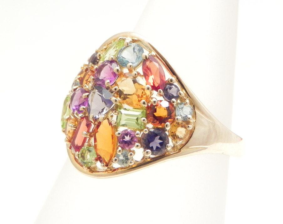 Multi Gem Ring Set With Topaz Peridot Garnet Right Hand