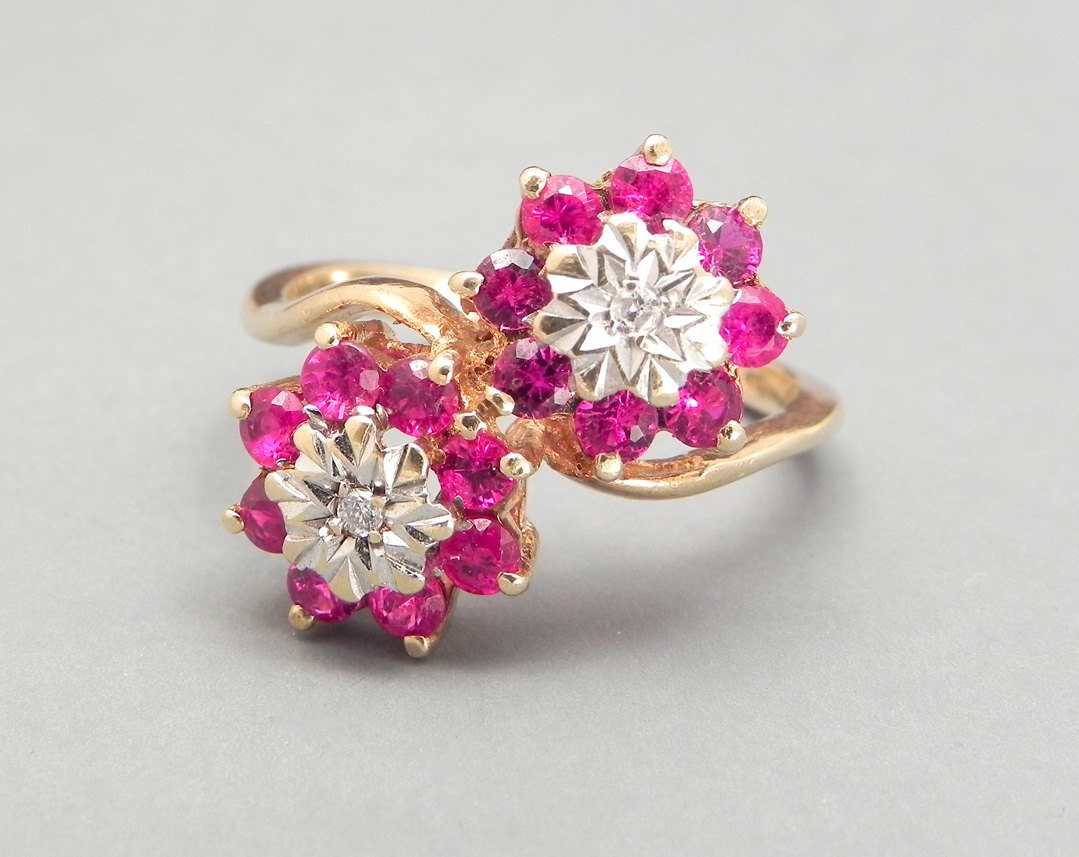 Pink Sapphire Ring Vintage Engagement Ring 9ct Yellow Gold Ring Diamond Cluster Ring