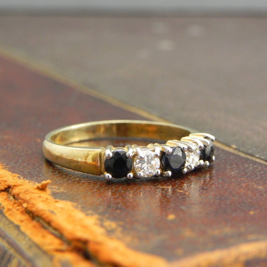 Sterling Silver Gold Vermeil Ring with Round Cut Sapphire and CZ Stones  Fine Silver Jewelry Size 6.5  Stackable Sapphire Ring