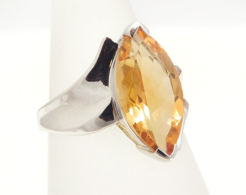 Vintage Sterling Silver Marquise cut Amethyst /& Citrine Halo Ring Size 7